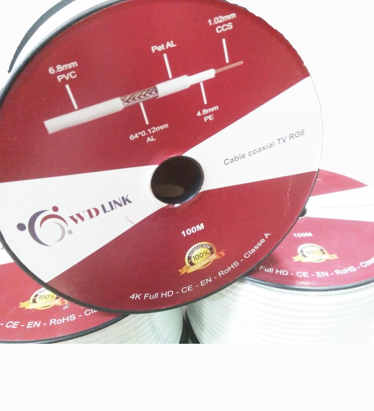 Câble Coaxial TV RG6*64 de la marque W-D-LINK