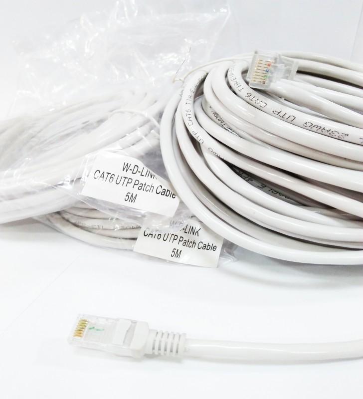 W-D-LINK CAT6 UTP Patch Cable Gris ( 0,5m, 1m, 1.5m, 3m, 5m, 10m, 20m et 30m Mètres)